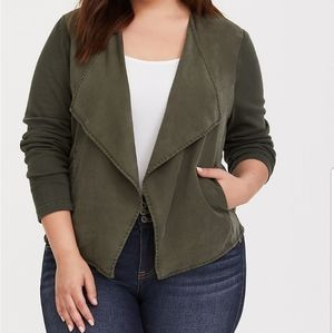 Torrid Olive Knit to Woven Cardigan